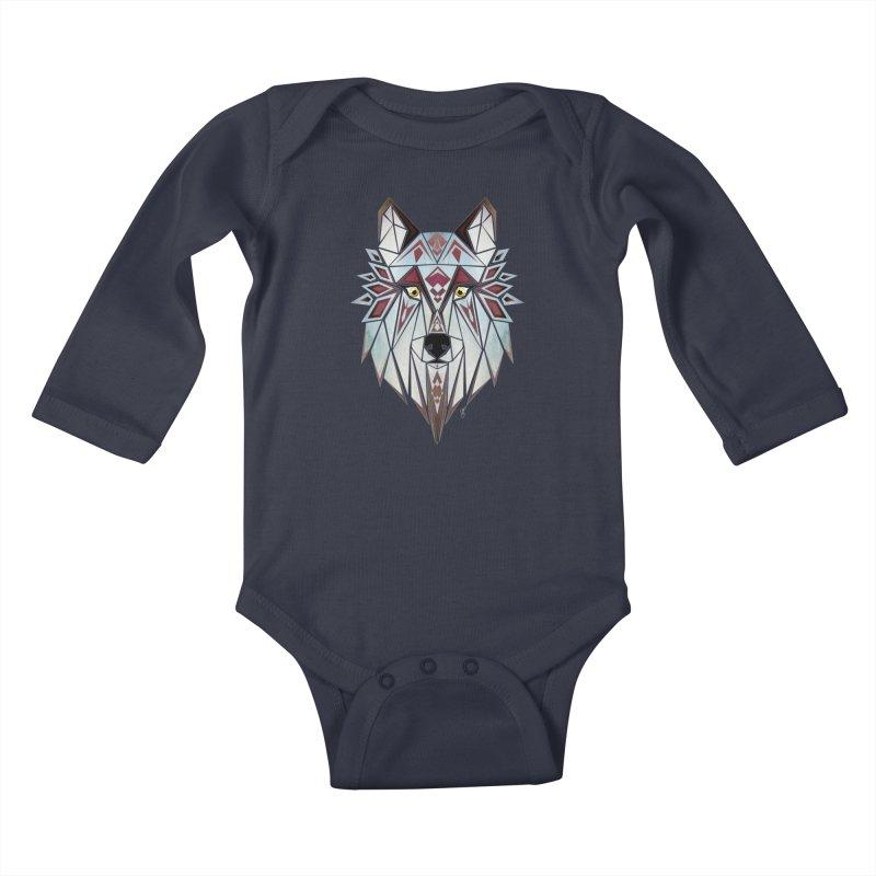 Wild wolf Kids Baby Longsleeve Bodysuit by manoou's Artist Shop