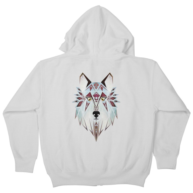 Wild wolf Kids Zip-Up Hoody by manoou's Artist Shop