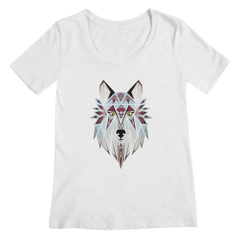 Wild wolf Women's Scoopneck by manoou's Artist Shop
