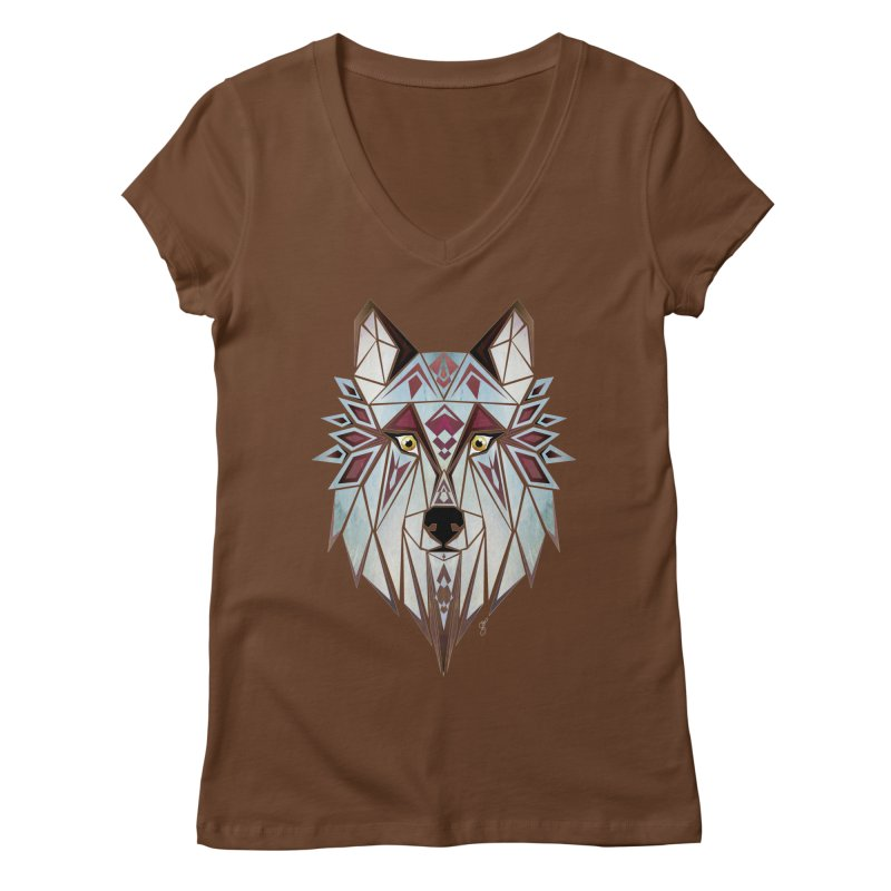 Wild wolf Women's V-Neck by manoou's Artist Shop