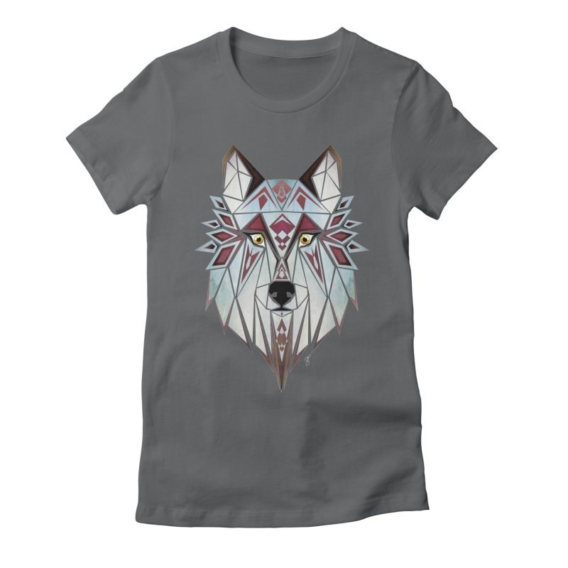 Wild wolf Women's Fitted T-Shirt by manoou's Artist Shop
