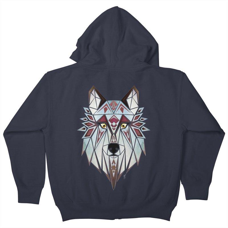 Wild wolf Kids Zip-Up Hoody by manoou's Artist Shop