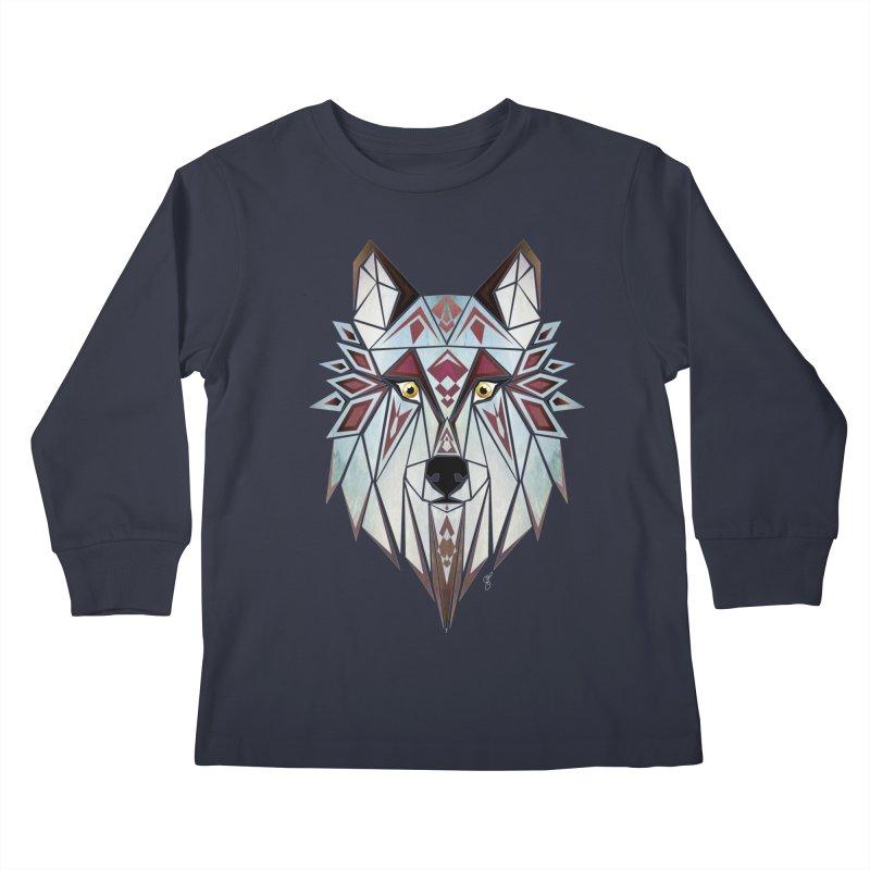 Wild wolf Kids Longsleeve T-Shirt by manoou's Artist Shop