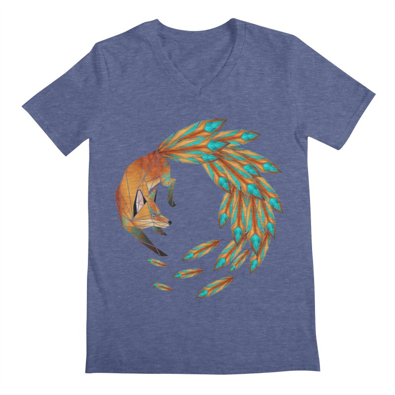 fox circle Men's V-Neck by manoou's Artist Shop