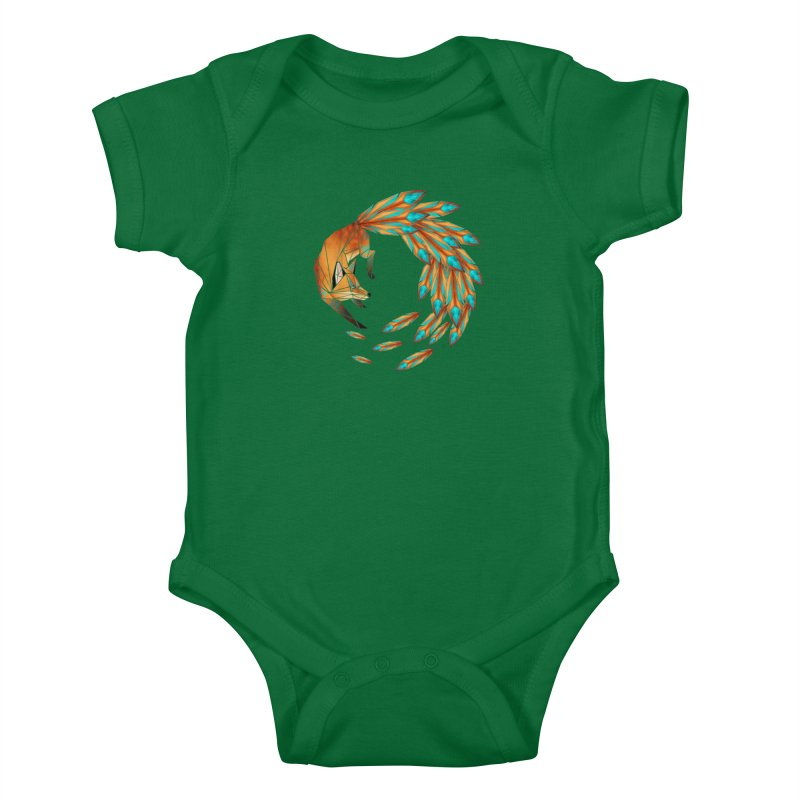 fox circle Kids Baby Bodysuit by manoou's Artist Shop