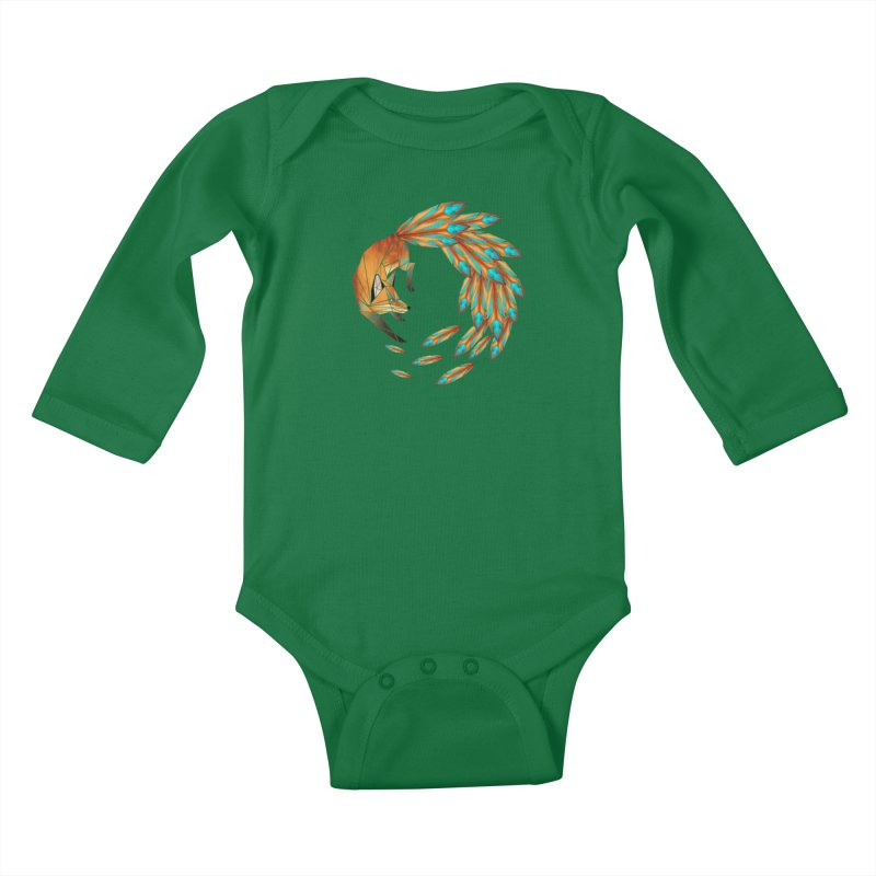 fox circle Kids Baby Longsleeve Bodysuit by manoou's Artist Shop