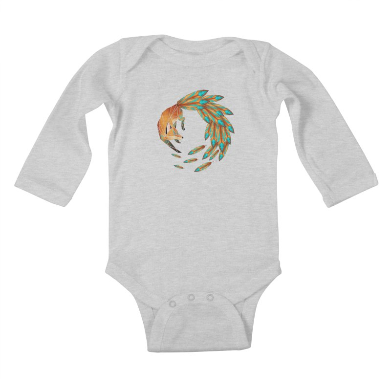 fox circle Kids Baby Longsleeve Bodysuit by manoou's Artist Shop