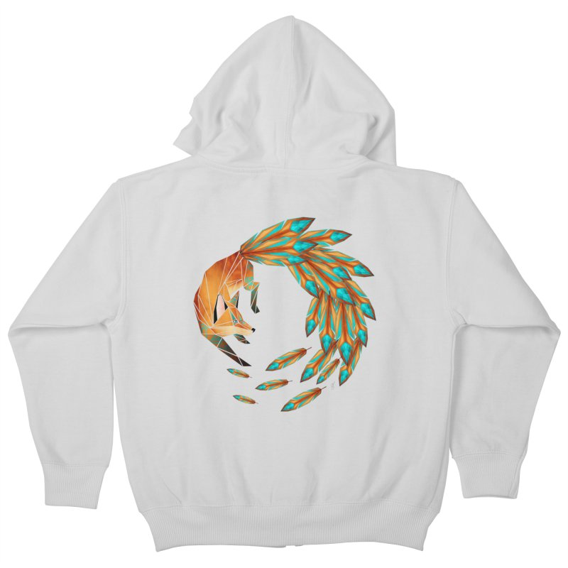 fox circle Kids Zip-Up Hoody by manoou's Artist Shop