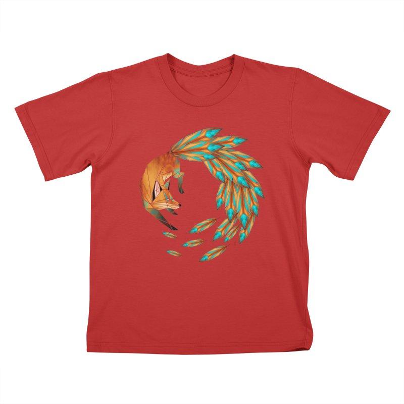 fox circle Kids T-shirt by manoou's Artist Shop