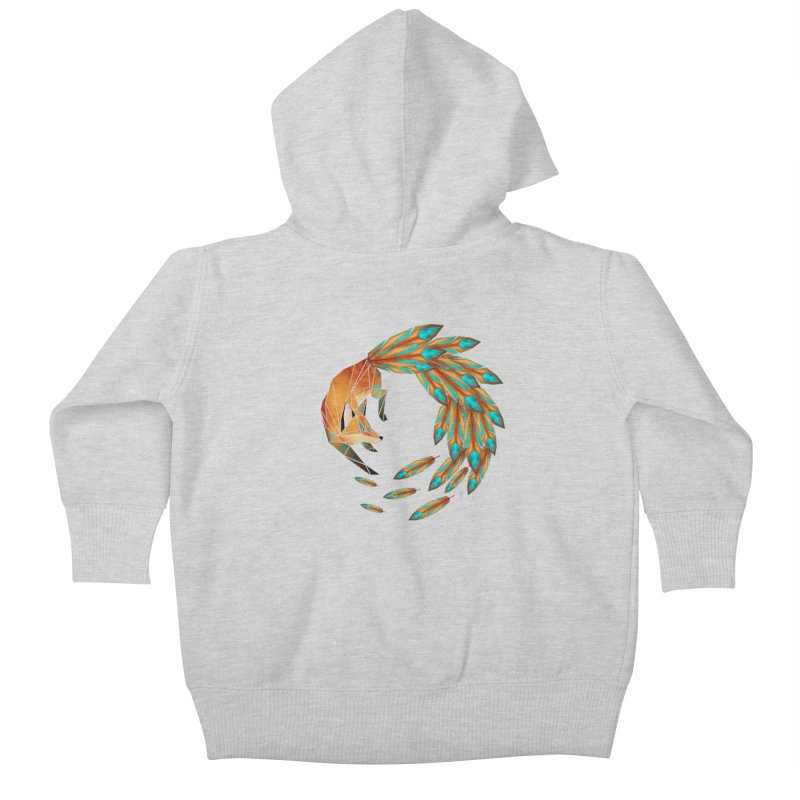 fox circle Kids Baby Zip-Up Hoody by manoou's Artist Shop