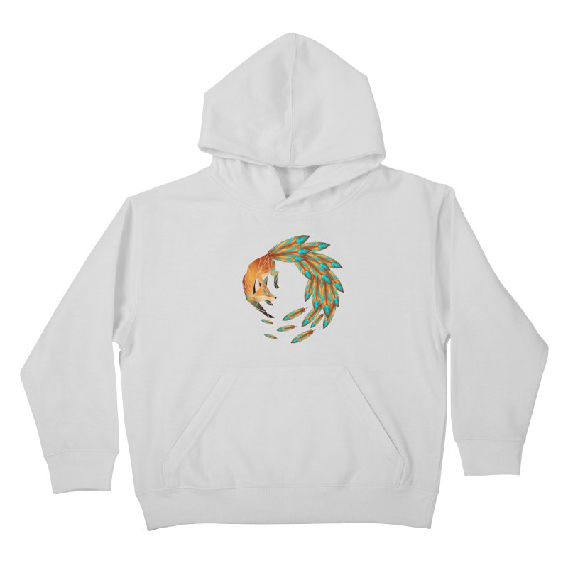 fox circle Kids Pullover Hoody by manoou's Artist Shop