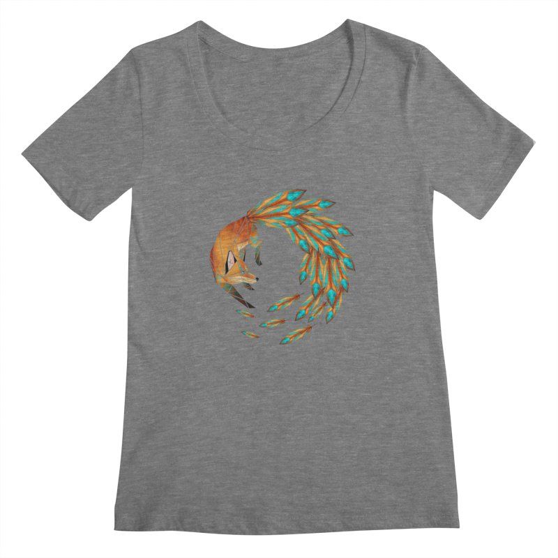 fox circle Women's Scoopneck by manoou's Artist Shop