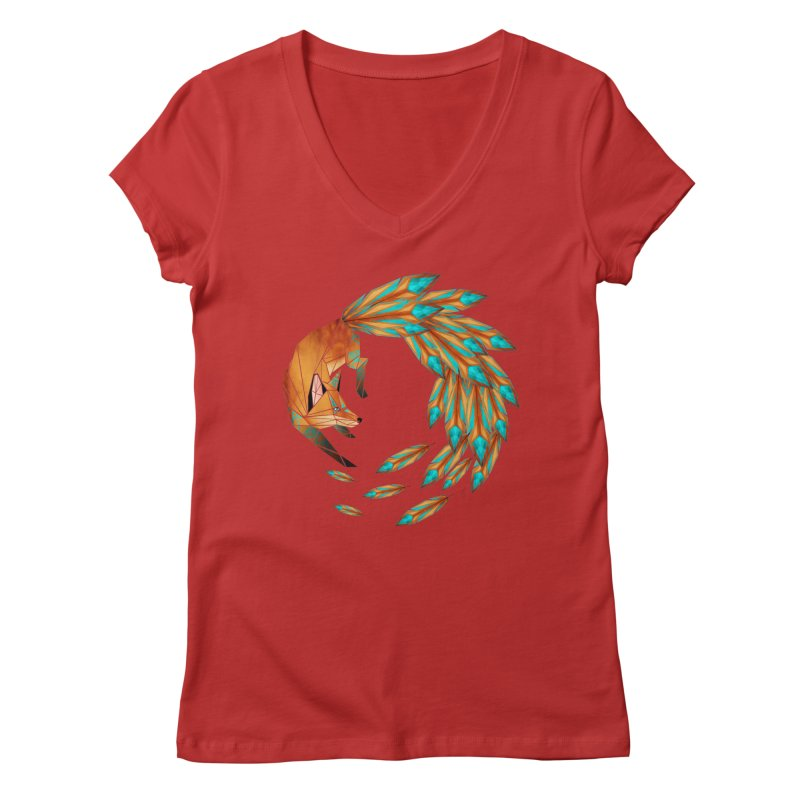 fox circle Women's V-Neck by manoou's Artist Shop