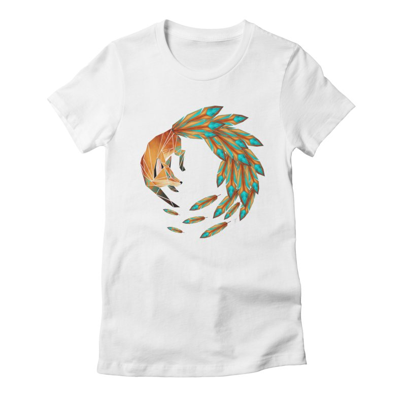 fox circle Women's Fitted T-Shirt by manoou's Artist Shop