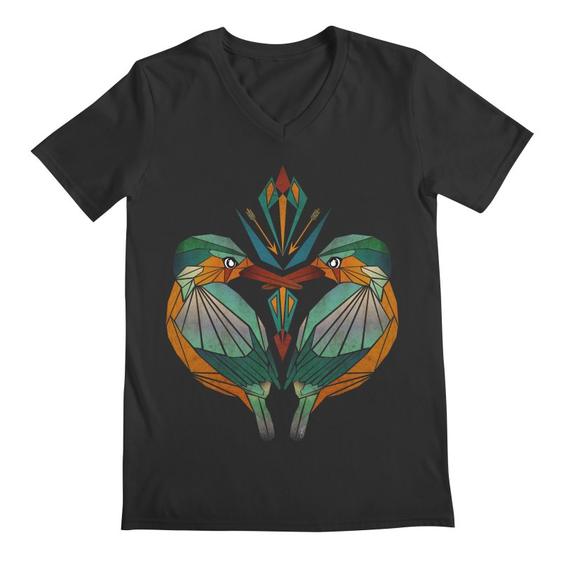 kingfisher Men's V-Neck by manoou's Artist Shop
