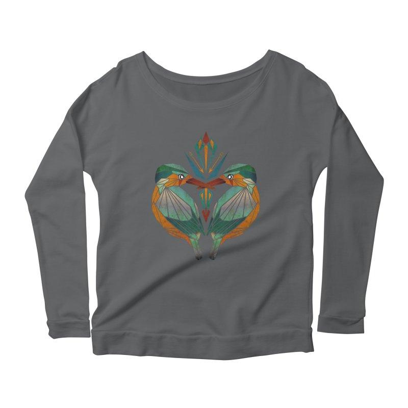 kingfisher Women's Longsleeve Scoopneck  by manoou's Artist Shop