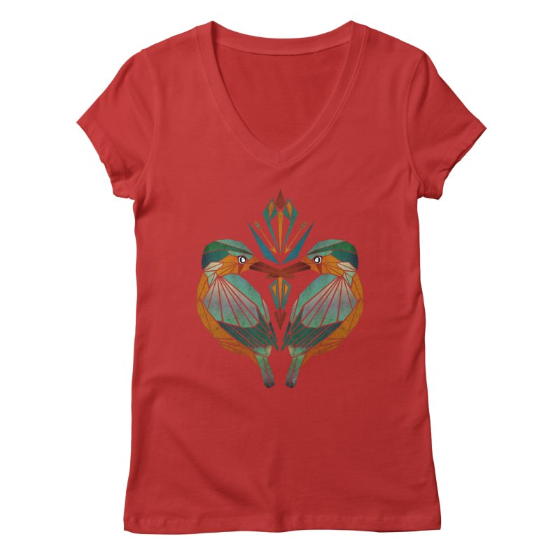 kingfisher Women's V-Neck by manoou's Artist Shop