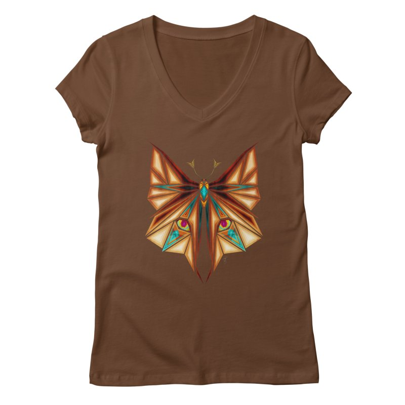 fox or butterfly Women's V-Neck by manoou's Artist Shop