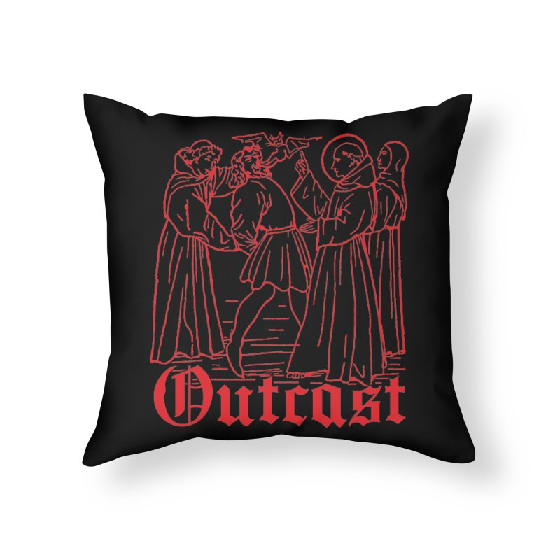 Outcast Home Throw Pillow by Mansemat & Moloch