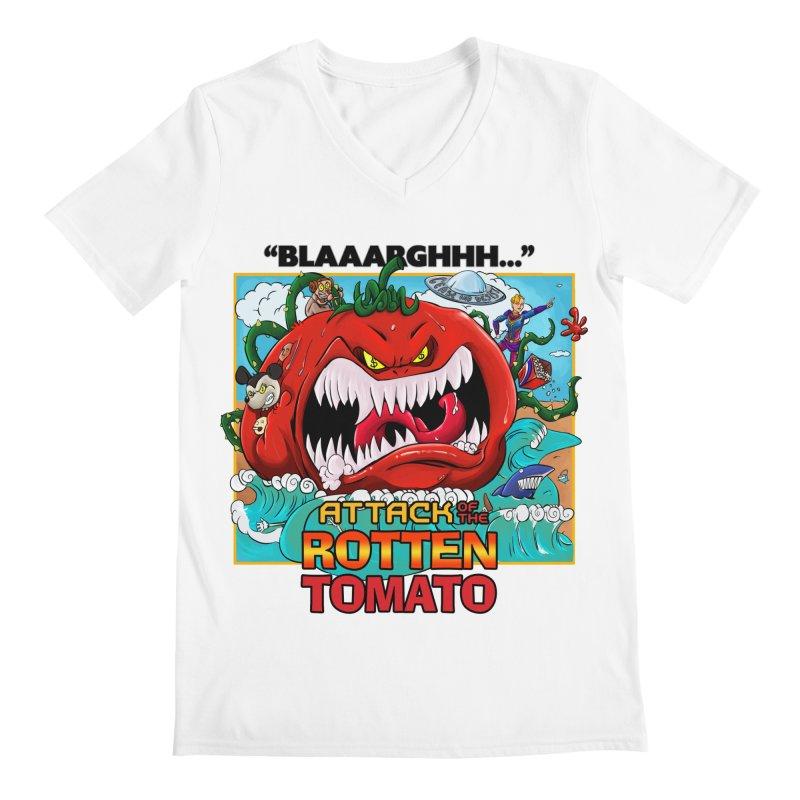 Attack of the Rotten Tomato Men's V-Neck by Mansemat & Moloch