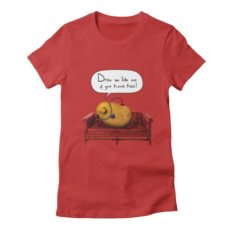 Couch Potato Women's Fitted T-Shirt by Mantichore Design