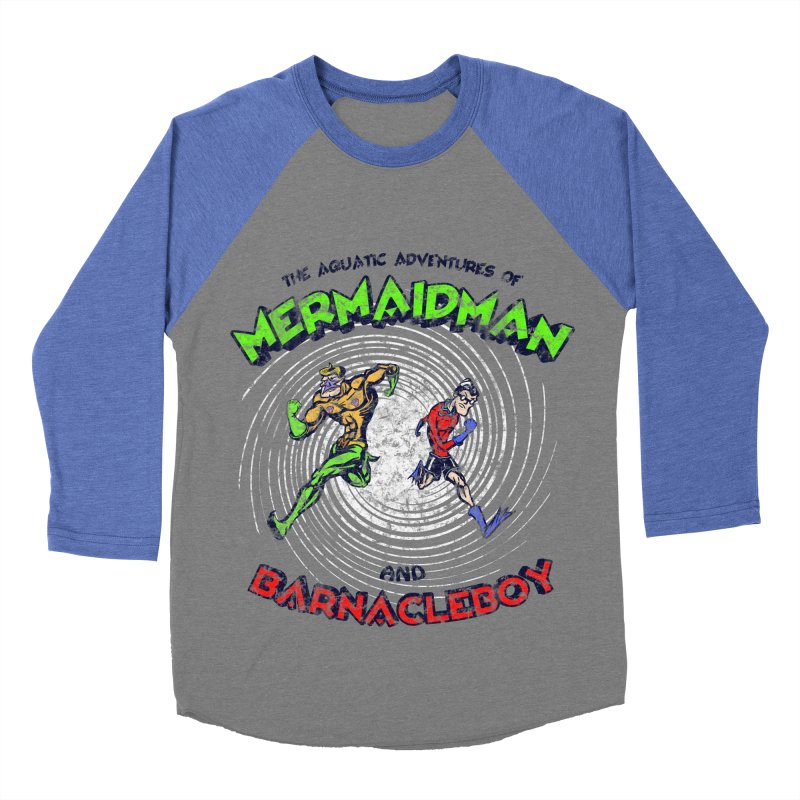 The aquatic adventures of mermaidman and barnacleboy Men's Baseball Triblend Longsleeve T-Shirt by Mantichore Design