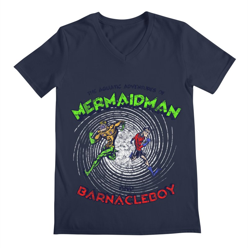 The aquatic adventures of mermaidman and barnacleboy Men's V-Neck by Mantichore Design