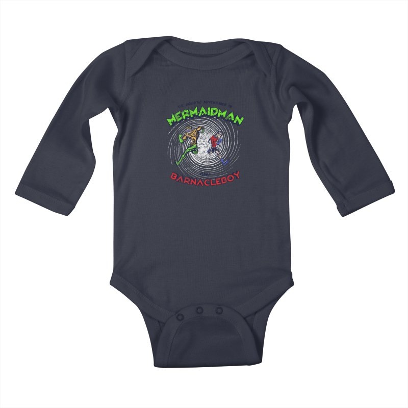 The aquatic adventures of mermaidman and barnacleboy Kids Baby Longsleeve Bodysuit by Mantichore Design