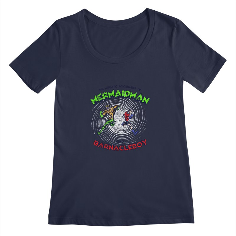 The aquatic adventures of mermaidman and barnacleboy Women's Regular Scoop Neck by Mantichore Design