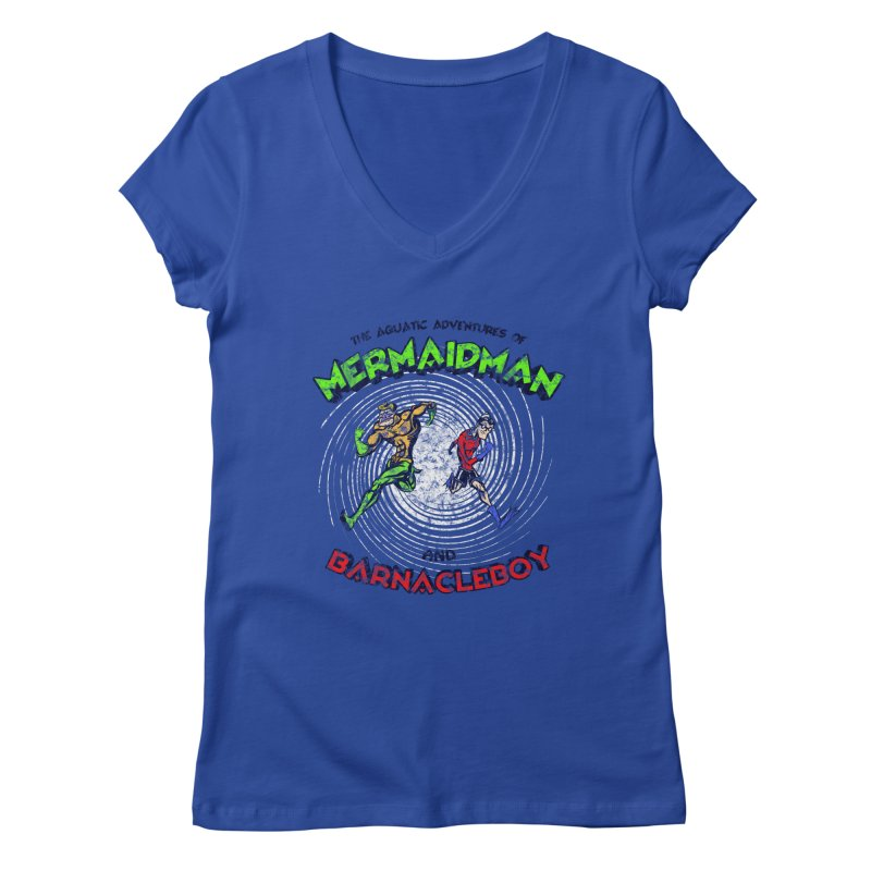The aquatic adventures of mermaidman and barnacleboy Women's V-Neck by Mantichore Design
