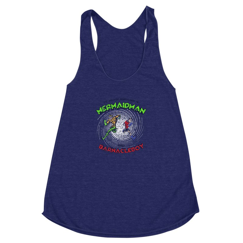 The aquatic adventures of mermaidman and barnacleboy Women's Racerback Triblend Tank by Mantichore Design