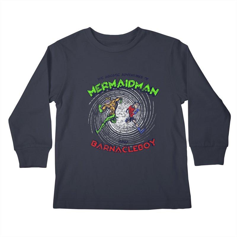The aquatic adventures of mermaidman and barnacleboy Kids Longsleeve T-Shirt by Mantichore Design
