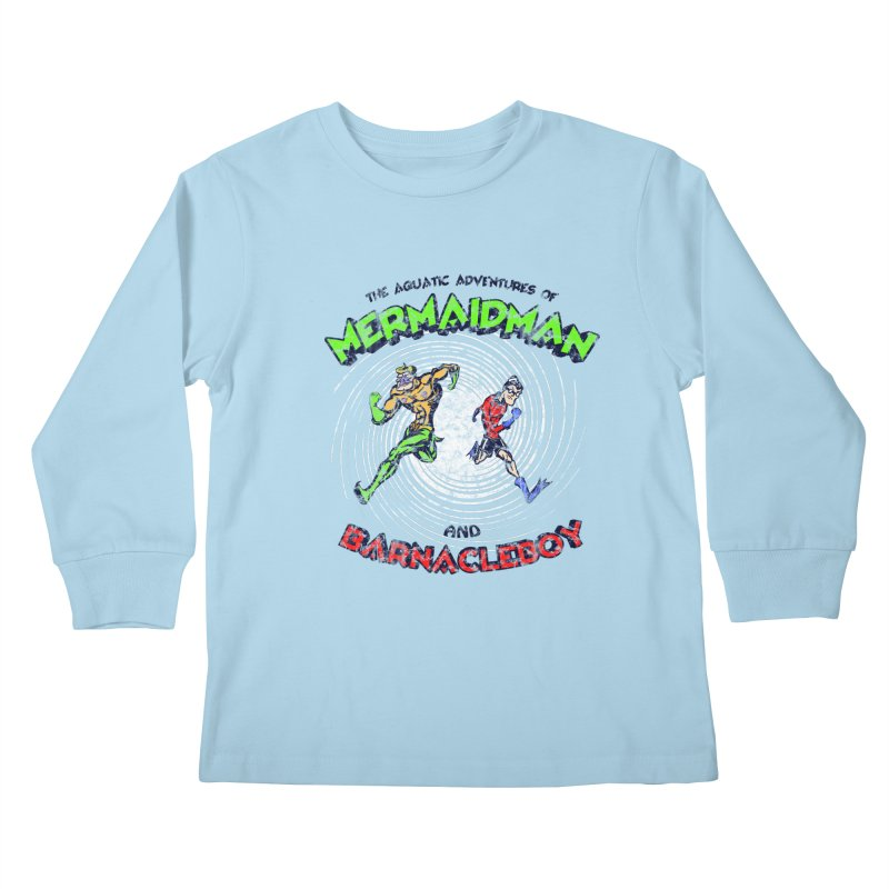 The aquatic adventures of mermaidman and barnacleboy Kids Longsleeve T-Shirt by Mantichore Design