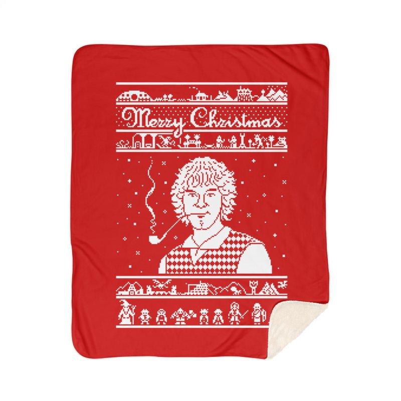 Merry Christmas Home Sherpa Blanket Blanket by Mantichore Design