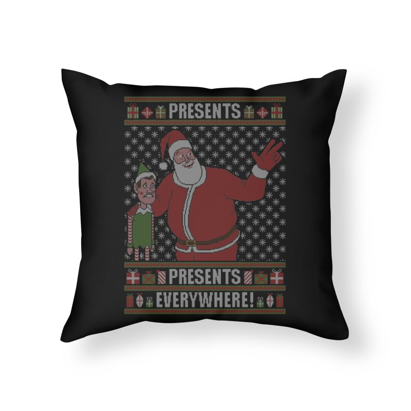 Presents everywhere! (Knitted version) Home Throw Pillow by Mantichore Design