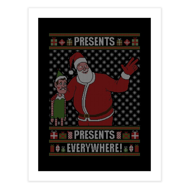 Presents everywhere! (Knitted version) Home Fine Art Print by Mantichore Design