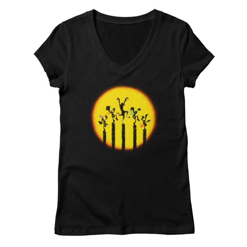 Teenage Mutant Karate Kids Women's Regular V-Neck by Mantichore Design