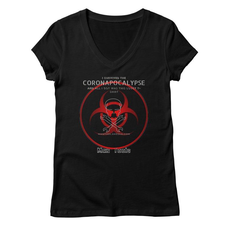 CORONAPOCALYPSE Women's V-Neck by Man Tools Merch