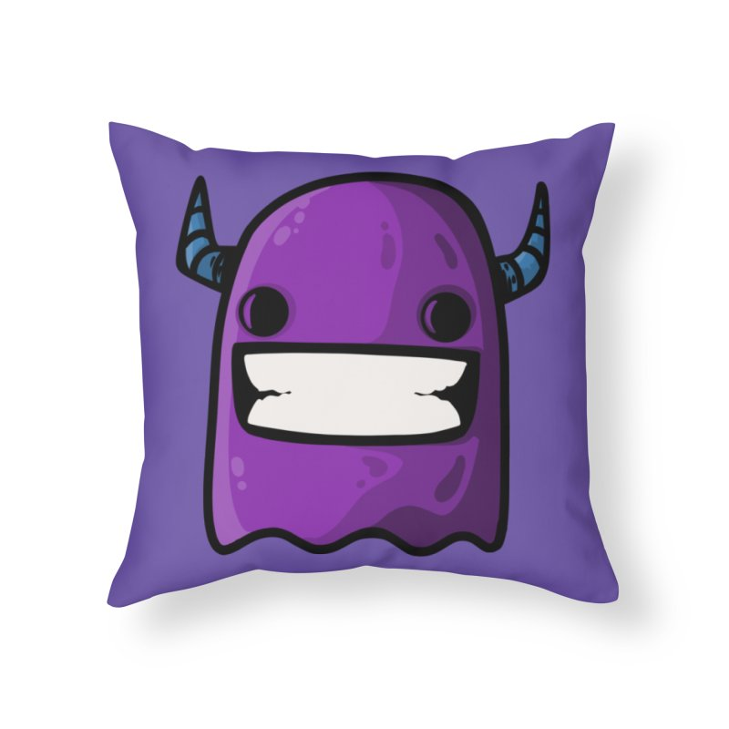 horned ghost purple Home Throw Pillow by manuvila