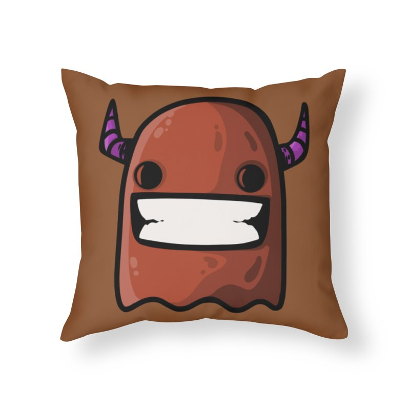 horned ghost brown Home Throw Pillow by manuvila