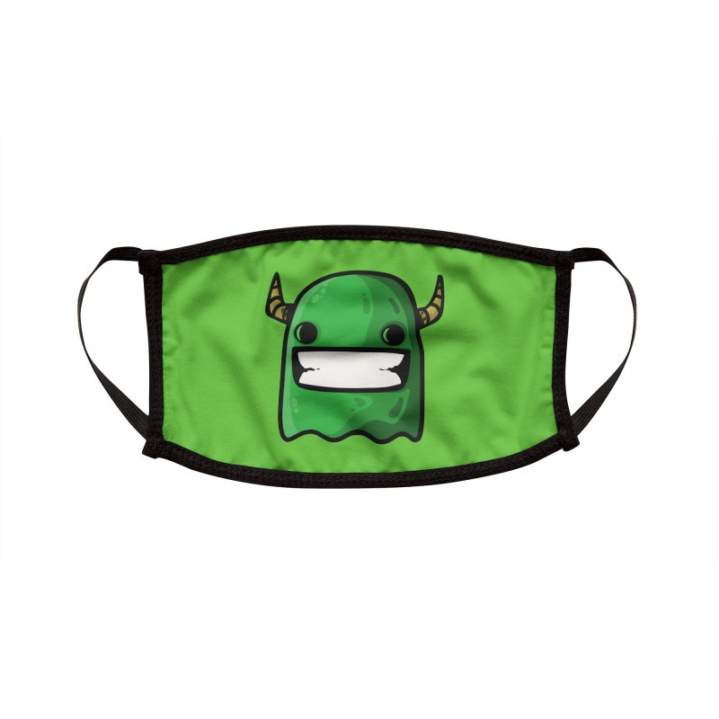 horned ghost green Accessories Face Mask by manuvila