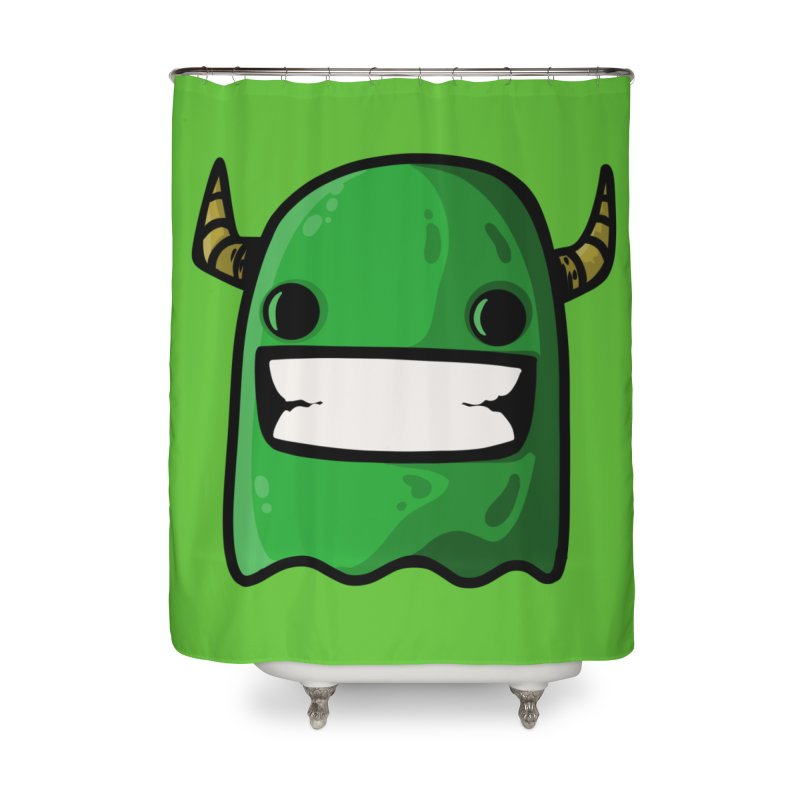 horned ghost green Home Shower Curtain by manuvila