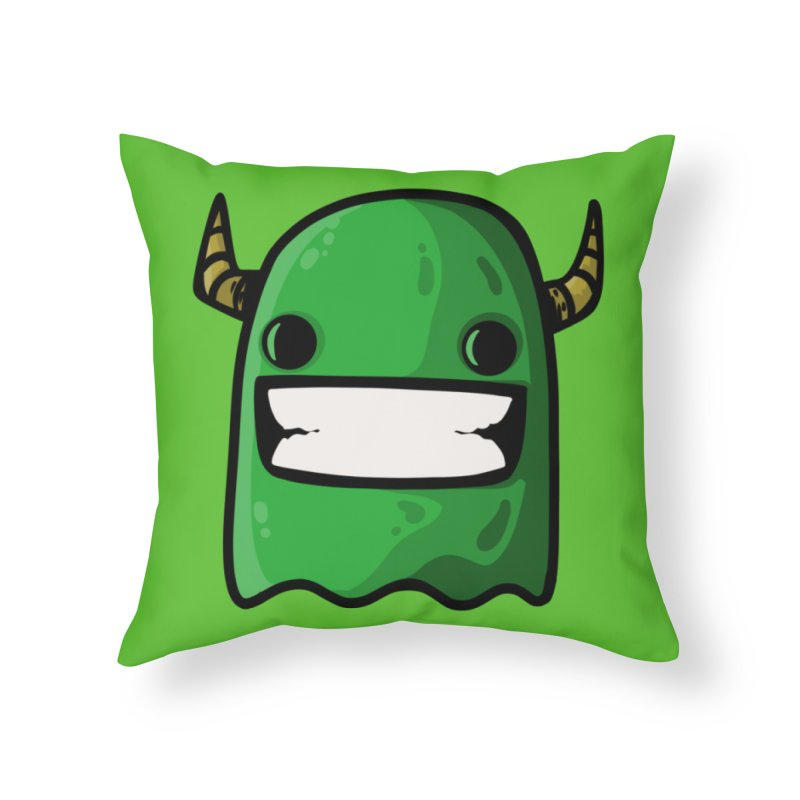 horned ghost green Home Throw Pillow by manuvila