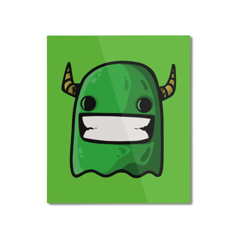 horned ghost green Home Mounted Aluminum Print by manuvila