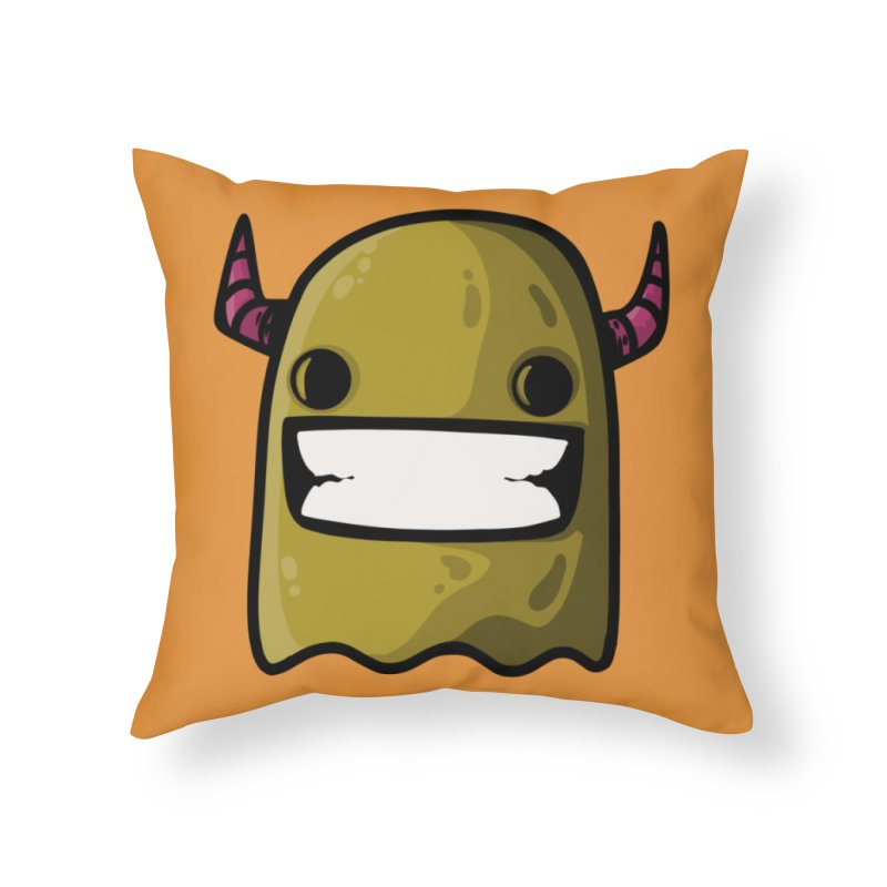 horned ghost yellow Home Throw Pillow by manuvila