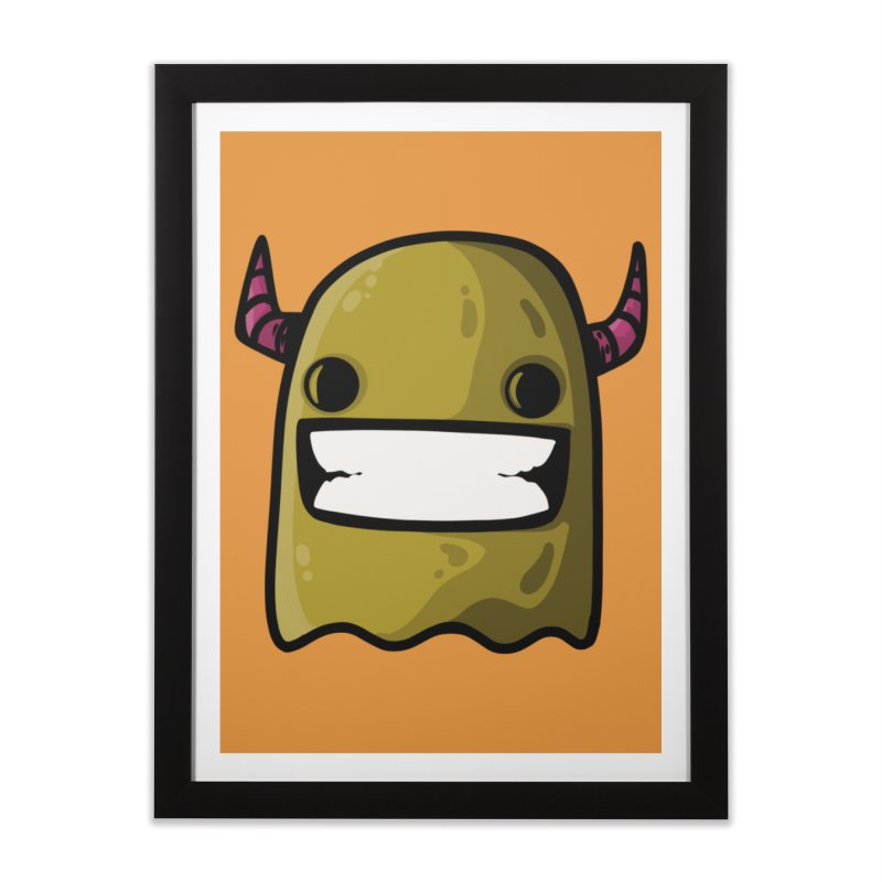 horned ghost yellow Home Framed Fine Art Print by manuvila