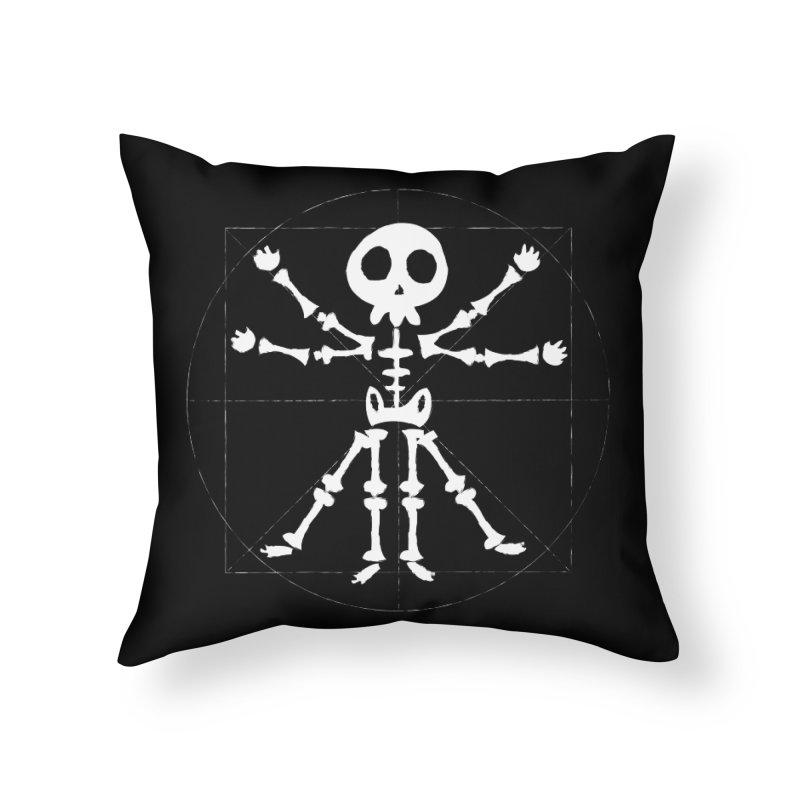 vitruvian skeleton Home Throw Pillow by manuvila