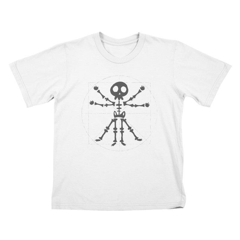 skeleton vitruvian negative Kids T-Shirt by manuvila