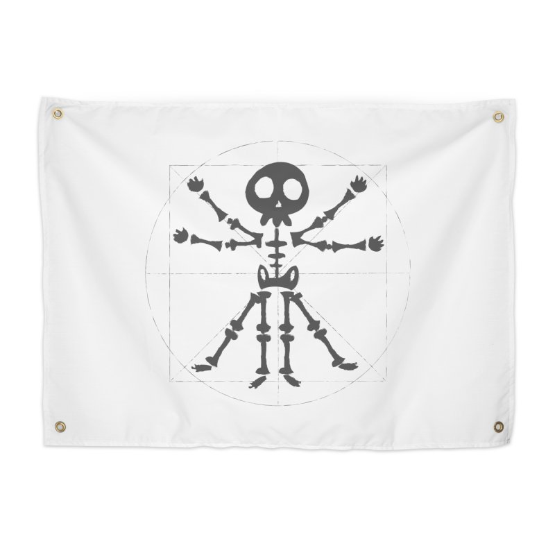 skeleton vitruvian negative Home Tapestry by manuvila