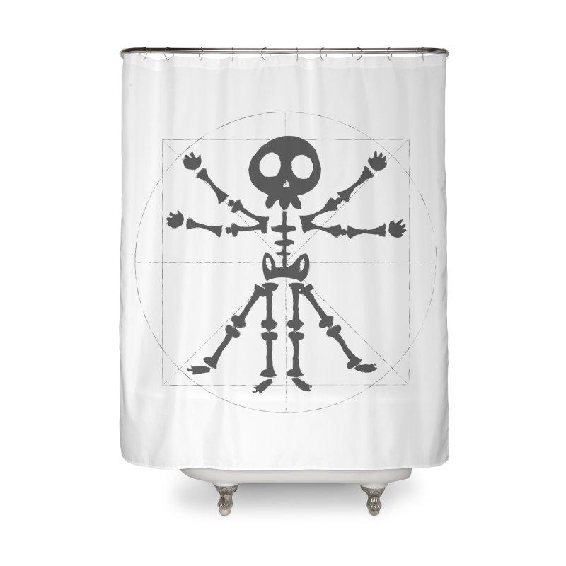 skeleton vitruvian negative Home Shower Curtain by manuvila